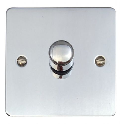 G&H FC15 Flat Plate Polished Chrome 1 Gang 1 or 2 Way 700W Dimmer Switch Single Plate
